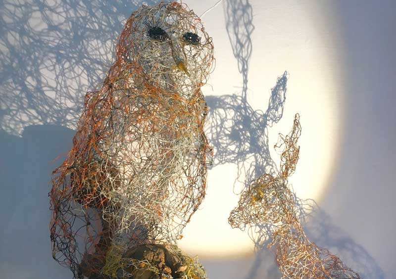 Wire owl and hare